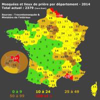 France par Département mosquées 2014
